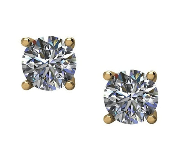 1 Ct 14k Yellow Gold Diamond Stud Earrings (1.00 Cttw, GH Color, I1 Clarity)