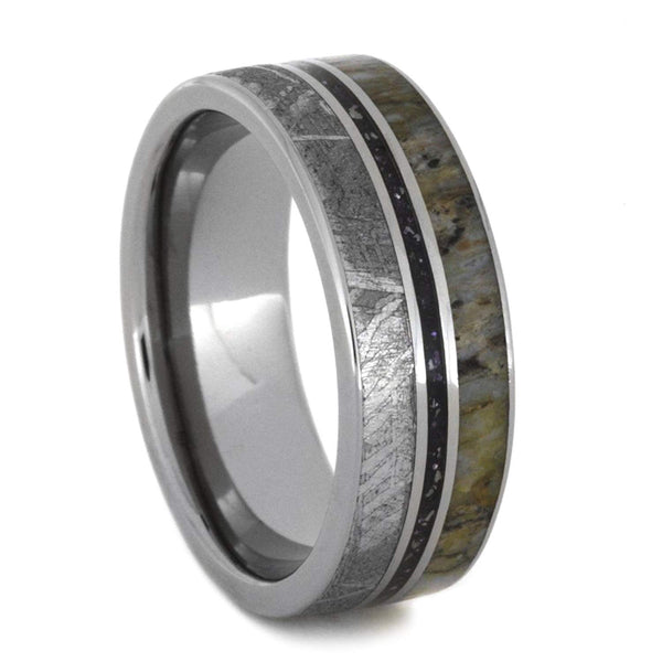 Gibeon Meteorite, Metallic Enamel, Dinosaur Bone 8mm Comfort-Fit Titanium Wedding Band, Size 9.75