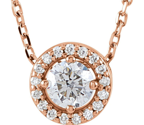 "Diamond Halo Necklace, 14k Rose Gold, 16"" (0.2 Ctw, G-H Color, I1 Clarity)"