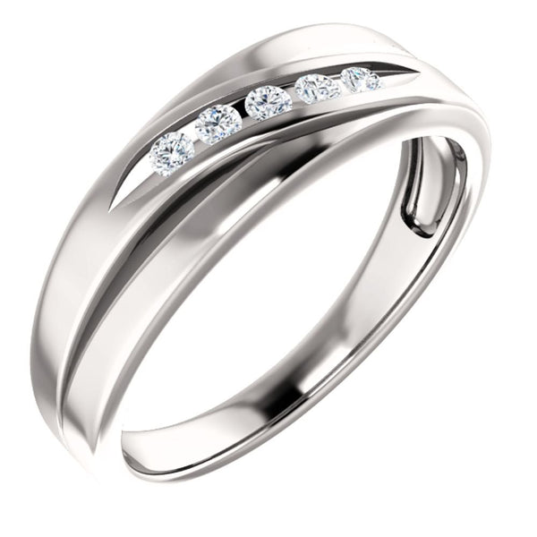 Men's Platinum 7-Stone Diamond Wedding Band (.16 Ctw, Color G-H, SI2-SI3 Clarity) Size 10.5