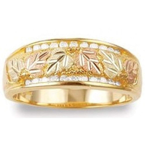 22-Stone Diamond Band, 10k Yellow Gold, 12k Green and Rose Gold Black Hills Gold Motif (0.33 Ctw)