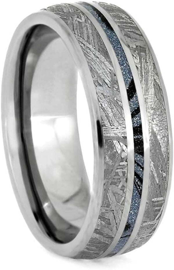 The Men's Jewelry Store (Unisex Jewelry) Gibeon Meteorite, Blue Mokume Gane 7mm Titanium Comfort-Fit Wedding Band, Size 13.25