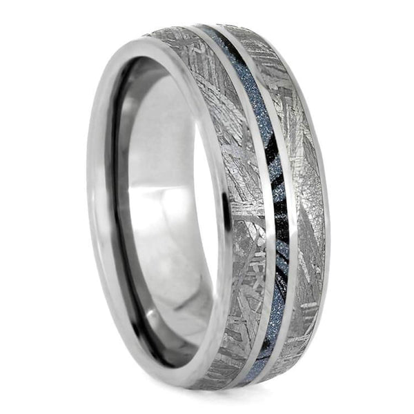 The Men's Jewelry Store (Unisex Jewelry) Gibeon Meteorite, Blue Mokume Gane 7mm Titanium Comfort-Fit Wedding Band, Size 14.75