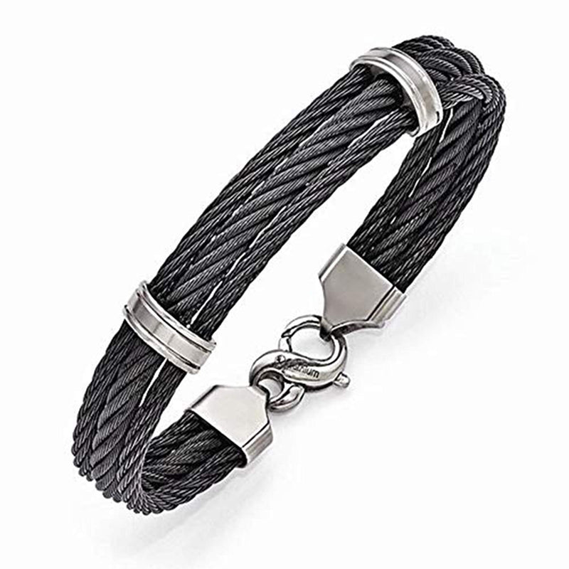 "Men's Signature Cable Collection Gray Titanium Three Row Cable Bracelet, 8"" (11MM)"