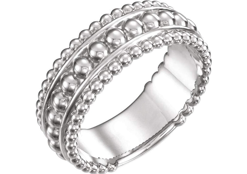 Mirror-Polished Beaded Ring, Rhodium-Plated 14k White Gold