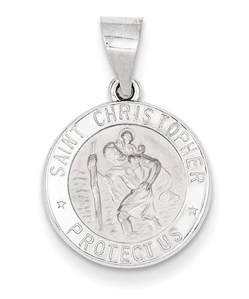 Rhodium-Plated 14k White Gold St. Christopher Medal Pendant (17X15MM)