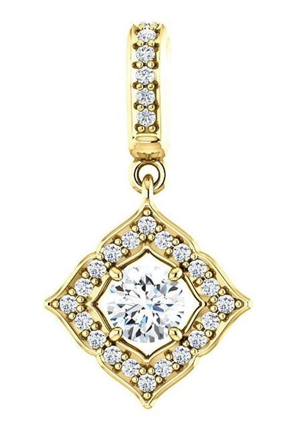 Diamond Halo-Style Clover Pendant, 14k Yellow Gold (0.375 Ctw, G-H Color,I1 Clarity)