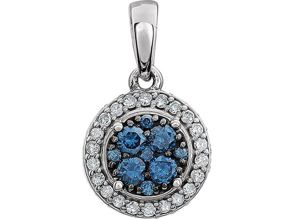 Blue and White Diamond Halo Pendant in 14k White Gold, (3/8 Cttw)