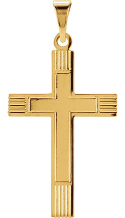 Inlay Protestant Cross 14k Yellow Gold Pendant (22X14MM)