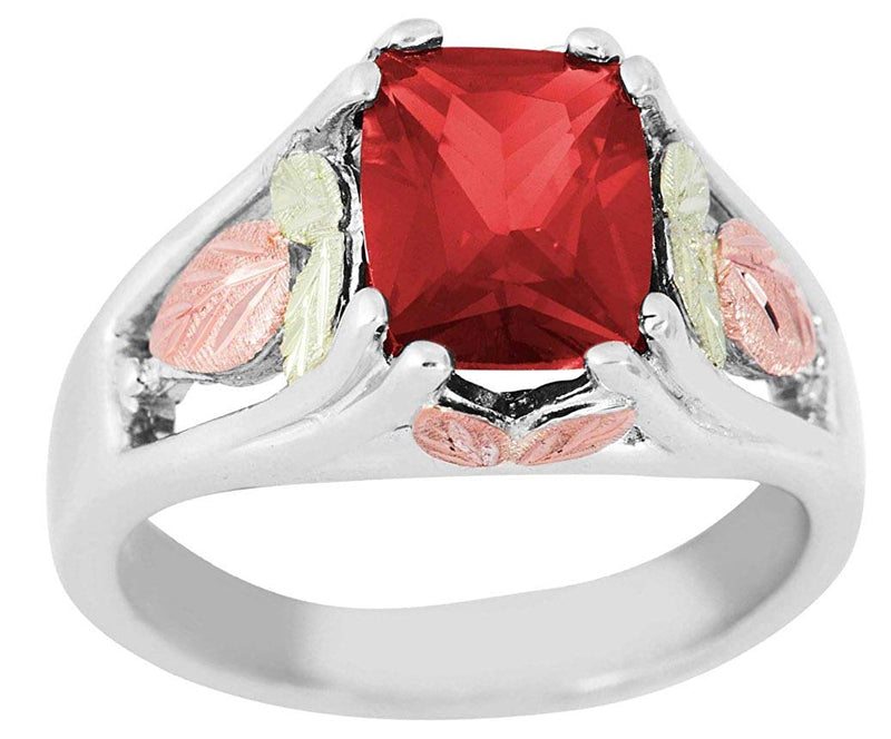 July Birthstone Created Ruby Ring, Sterling Silver, 12k Green and Rose Gold Black Hills Silver Motif