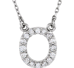 Diamond Initial 'O' Rhodium Plate 14K White Gold (1/6 Cttw, GH Color, l1 Clarity), 16.25""