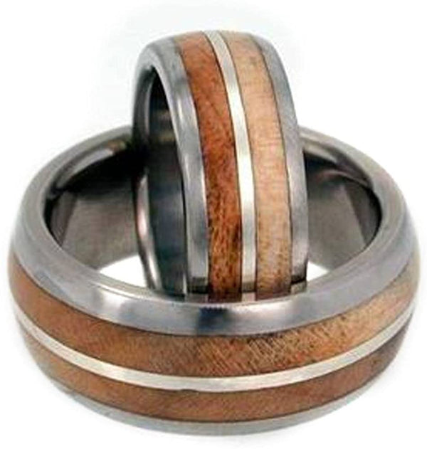 The Men's Jewelry Store (Unisex Jewelry) Maple Wood, Sterling Silver Comfort Fit Titanium Couples Wedding Band Set