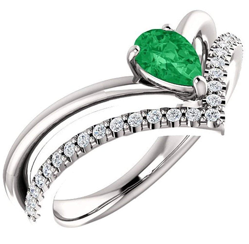 Chatham Created Emerald Pear and Diamond Chevron Platinum Ring ( .145 Ctw, G-H Color, SI2-SI3 Clarity)