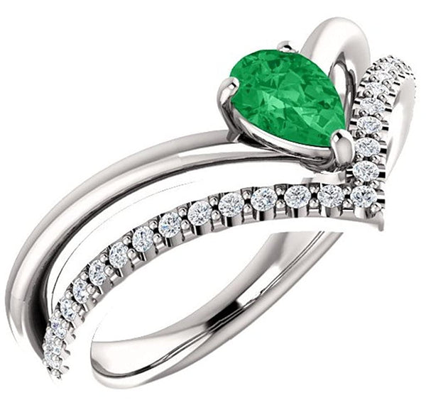 Chatham Created Emerald Pear and Diamond Chevron Platinum Ring (.145 Ctw, G-H Color, SI2-SI3 Clarity), Size 7