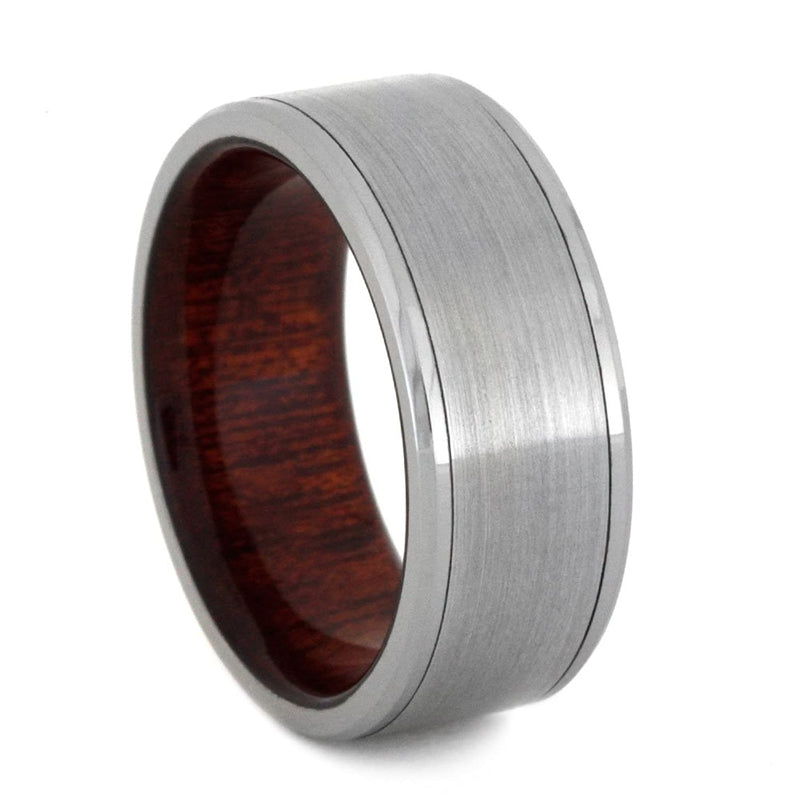 Brushed Titanium 8mm Comfort-Fit Bloodwood Band