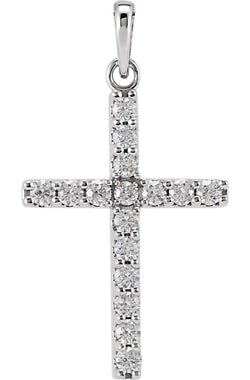 Platinum Diamond Cross Pendant (0.5 Ctw, Color GH, Clarity I1)