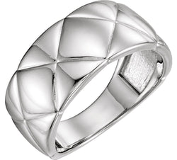 Bead-Blast Quilted Ring, Sterling Silver