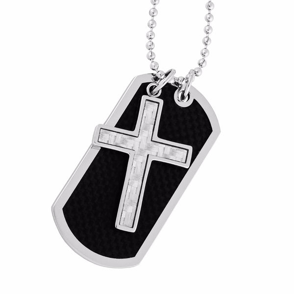 Men's Carbon Fiber Cross with Dog Tag Pendant Necklace, Stainless Steel, 24""