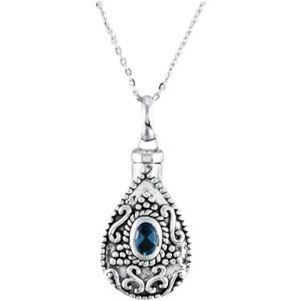 Light Blue CZ Teardrop Ash Holder Necklace, Rhodium Plate Sterling Silver, 18""