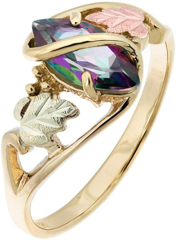 10k Yellow Gold, Marquise Mystic Fire Topaz Wrap Ring, 12k Rose and Green Gold Black Hills Gold, Size 4.25