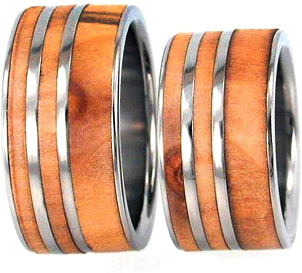 Rowan Wood, Titanium Pinstripes Interchangeable Ring, Couples Wedding Band Set, M14-F9.5