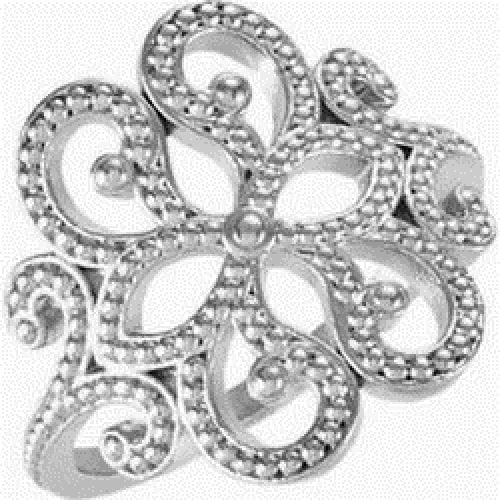 Womens 18k White Gold Granulated Flower Ring, Size 7