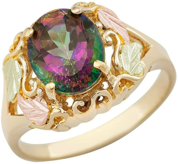 Scrollwork Mystic Fire Topaz Ring, 10k Yellow Gold, 12k Green and Rose Gold Black Hills Gold Motif, Size 10.5
