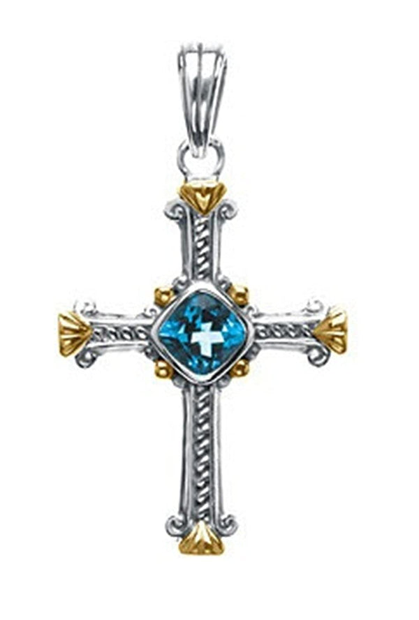 Swiss Blue Topaz Two-Tone Cross Sterling Silver and 14k Yellow Pendant (36.00X27.75 MM)