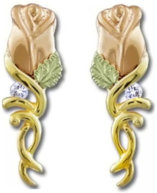 12k Rose Gold Diamond Rose Bud Earrings, 10k Yellow Gold on Black Hills Gold Motif (.06 Ctw)