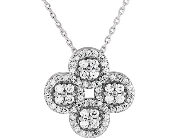 "Platinum Diamond Clover Necklace, 18"" (0.5 Ctw, Color G-H, Clarity SI2-SI3)"