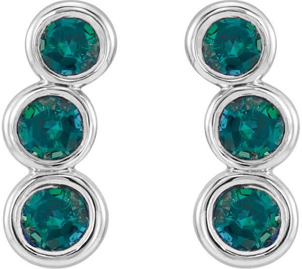 Platinum Alexandrite Three-Stone Ear Climbers