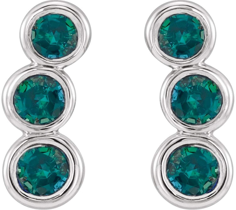Chatham Created Alexandrite Three-Stone Ear Climbers, Sterling Silver