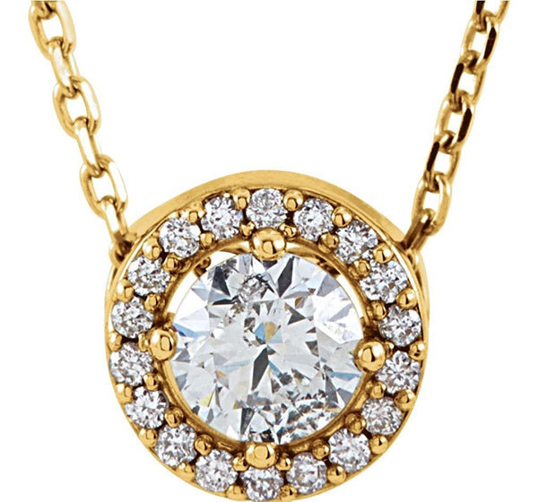 "Diamond Halo Necklace, 14k Yellow Gold, 16"" (0.25 Ctw, Color G-H, Clarity I1)"