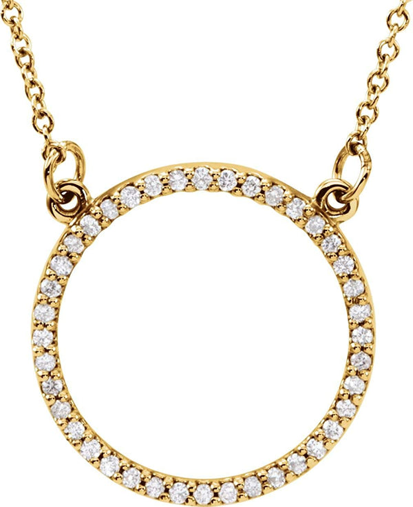 "Petite Diamond Circle Pendant 14k Yellow Gold Necklace, 16"" (1/6 Cttw)"