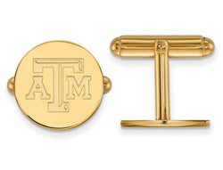 Gold-Plated Sterling Silver Texas A and M University Round Cuff Links, 15MM
