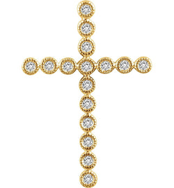 Diamond Paternoster Cross Pendant, 14k Yellow Gold (.25 Ctw, H+ Color, I1 Clarity)