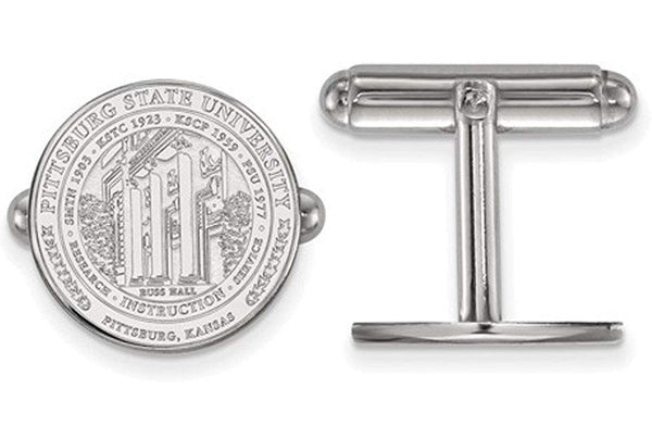 Rhodium-Plated Sterling Silver, Pittsburg State University Crest, Cuff Links, 15MM