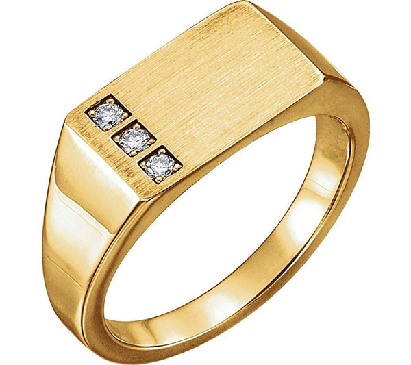 Men's Diamond 3-Stone Past, Present, Future Signet Ring, 14k Yellow Gold (.10 Ctw, G-H Color I1 Clarity)