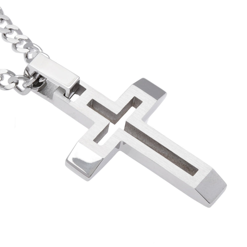 Men's Brushed Finish Open Cross Pendant Necklace , Stainless Steel, 22""
