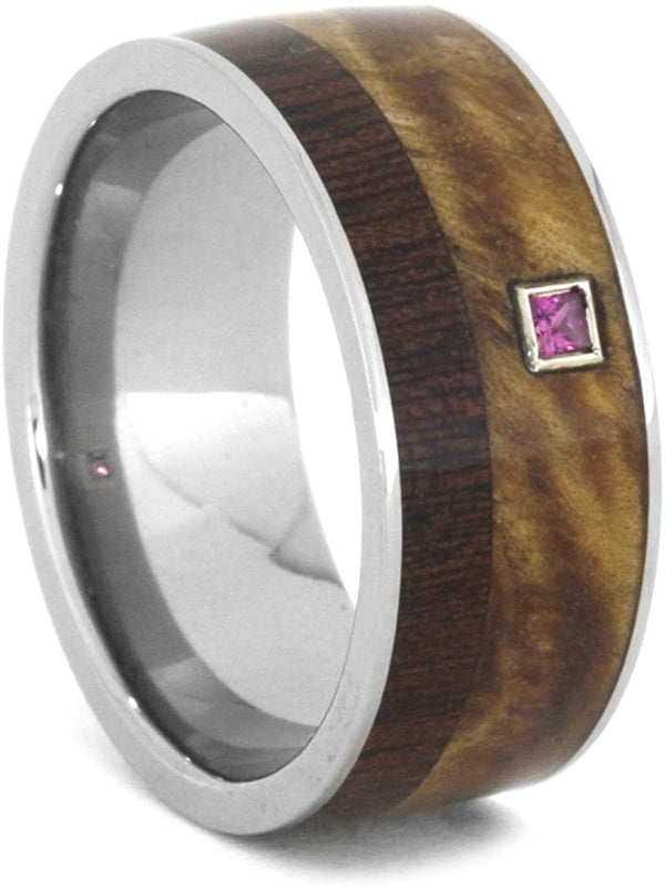 Princess Cut Ruby, Black Ash Burl, Dalmata Wood 9mm Comfort-Fit Titanium Band, Size 11.25