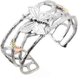 Butterfly Cuff Bracelet, Sterling Silver, 12k Green and Rose Gold Black Hills Gold Motif