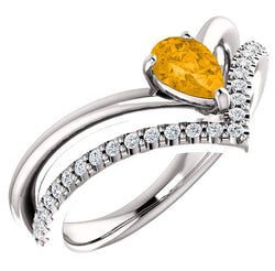 Citrine Pear and Diamond Chevron Platinum Ring ( .145 Ctw, G-H Color, SI2-SI3 Clarity)