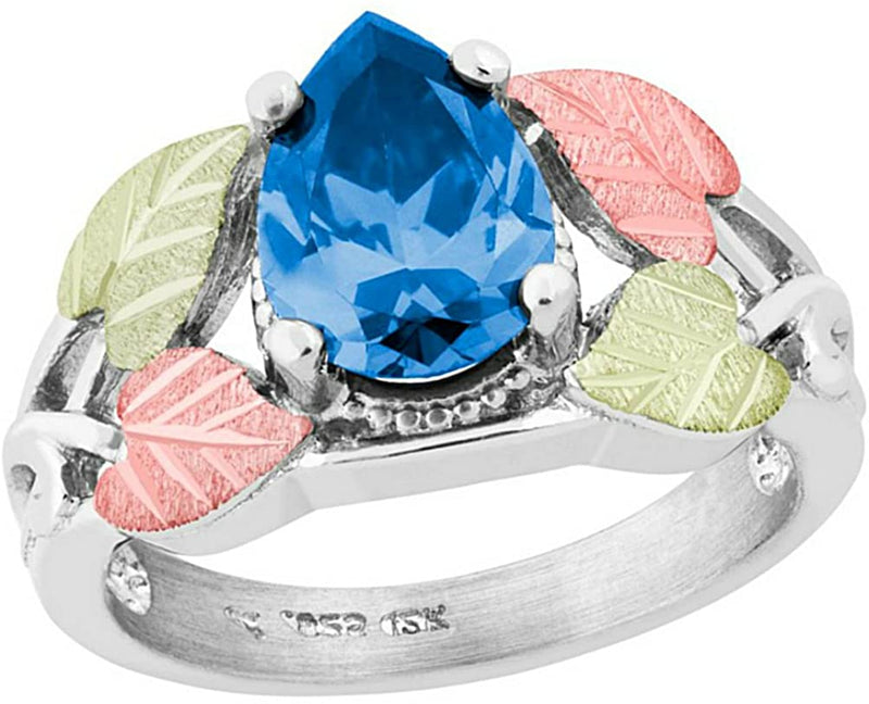 Pear Swiss Blue CZ Ring, Sterling Silver, 12k Green and Rose Gold Black Hills Gold Motif, Size 9.25