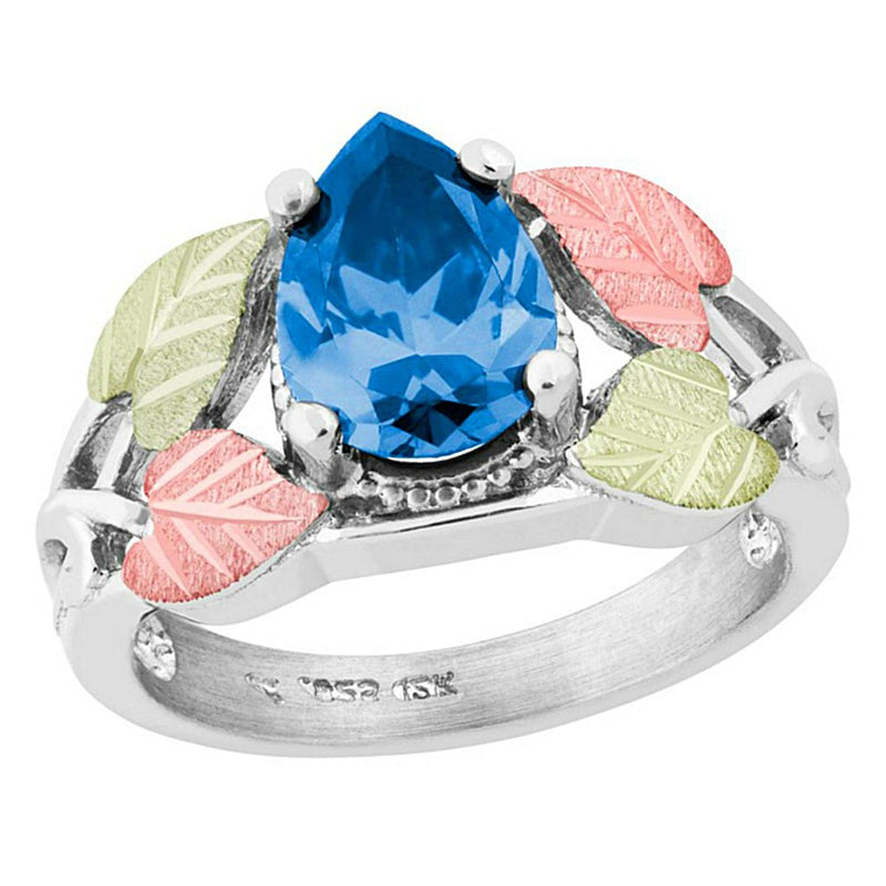 Pear Swiss Blue CZ Ring, Sterling Silver, 12k Green and Rose Gold Black Hills Gold Motif, Size 9.5
