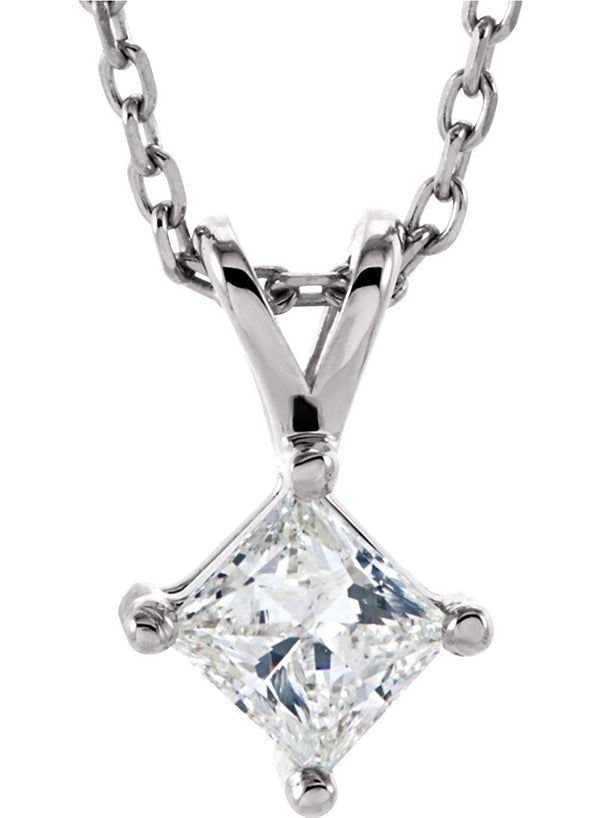 "Princess-Cut Diamond Solitaire Pendant Necklace, Rhodium Plate 14k White Gold, 18"" (1/4 Ctw, GH, I1)"