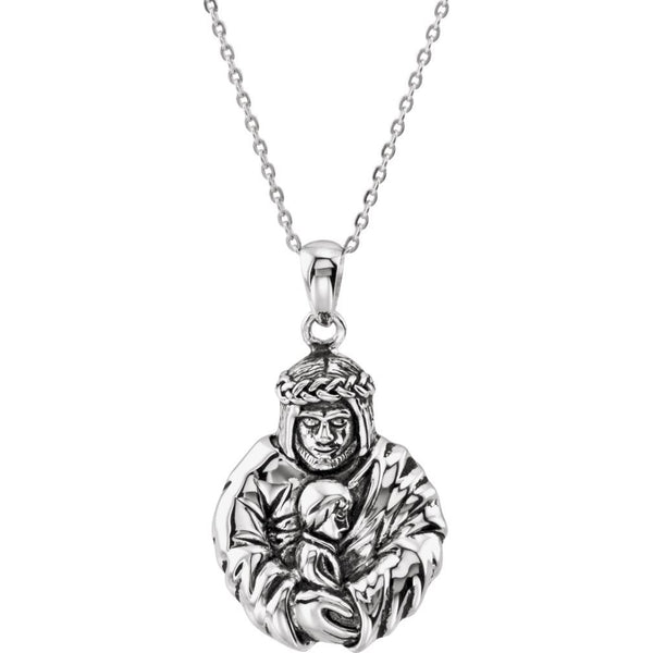 Mom's Prayer for Sons 'God's Embrace of Love' Rhodium-Plate Sterling Necklace, 18""