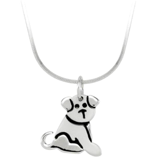 Girl's Sterling Silver Puppy Dog Pendant Necklace, 16""