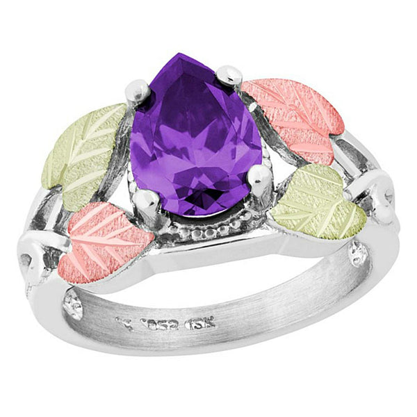 Pear Amethyst CZ Ring, Sterling Silver, 12k Green and Rose Gold Black Hills Gold Motif, Size 10