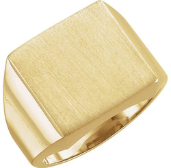 Men's Brushed Signet Semi-Polished Ring, 10k Yellow Gold (18mm) Size 6