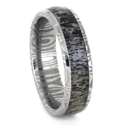 Deer Antler Damascus Stainless Steel, 6mm Comfort-Fit Band